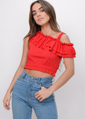 Asymmetric Frill Crop Top Red
