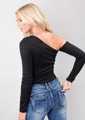 Asymmetric Long Sleeve Bodysuit Black