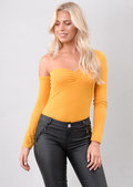 Asymmetric Long Sleeve Bodysuit Mustard Yellow