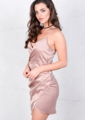 Asymmetric Wrap Plunge Neck Midi Bodycon Dress Pink Nude