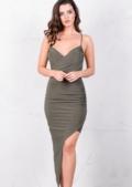 Asymmetric Wrap Front V Neck Bodycon Mini Dress Khaki