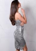 Asymmetric Wrap Plunge Neck Crushed Velvet Bodycon Dress Silver Grey