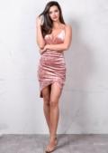 Asymmetric Wrap Plunge V Neck Crushed Velvet Bodycon Dress Dusty Pink