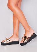 Ball Detail Embellished Flatform Sliders Rose Gold