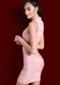Bandage Mesh Chevron Detail High Neck Bodycon Dress Rose Pink