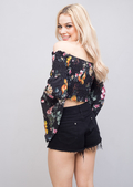Bardot Bell Sleeved Stretch Floral Crop Top Black