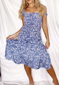 Bardot Cupped Floral Print Lace Up Frill Midi Dress Blue
