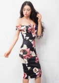 Bardot Floral Bodycon Midi Dress Black