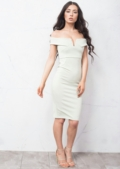 Bardot Bodycon Midi Dress Mint Green