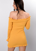 Bardot Frill Knitted Bodycon Dress Mustard Yellow
