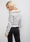 Bardot Knitted Frill Detail Jumper Grey