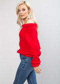 Bardot Knitted Frill Detail Jumper Red