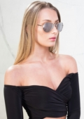 Bardot Off Shoulder Crop Top Black