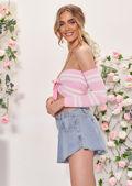 Off Shoulder Bardot Striped Long Sleeve Front Tie Crop Top Pink
