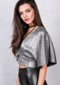 Batwing Plunge Neckline Wrap Over Metallic Crop Top Silver Grey