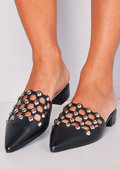Beaded Caged Cut Out Pointed Toe Mules Black