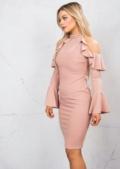 Bell Sleeve Frill Cold Shoulder Bardot High Neck Bodycon Dress Pink