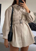 Brushed Belted Collared Pocketed Utility Shirt Dress Jacket Beige