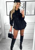 Brushed Belted Collared Pocketed Utility Shirt Dress Jacket Black