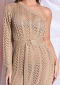 Belted One Shoulder Bodycon Knit Split Maxi Dress Brown