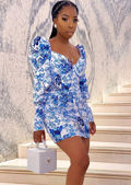 Floral Puff Long sleeve Sweetheart Neck Mini Dress Blue