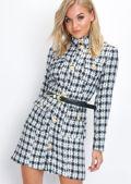 Black and White Tweed Tailored Blazer Coat Dress Multi