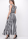 Black Bold Stripe Tie Waist Maxi Dress White