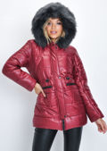 Black Faux Fur Hooded Padded Longline Puffer Coat Wine Red