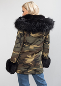 Black Faux Fur Hooded With Cuffs Full Fleece Parka Camo Khaki Green
