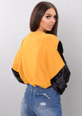 Black Faux Fur Stripe Balloon Sleeve Sweatshirt Jumper Mustard Yellow