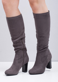 Block Heel Faux Suede Ruched Knee High Boots Grey