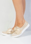 Bow Faux Suede Slip On Sneaker Pumps Beige