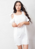 Bow Tie Cold Shoulder Bell Sleeve Shift Dress White