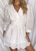 Broderie Anglaise Belted V Neckline Puff Sleeve Dress White