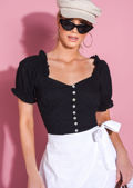Broderie Anglaise Puff Sleeve Button Front Crop Top Black