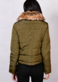 Brown Faux Fur Collar Quilted Fleece Padded Puffer Jacket Coat Khaki Green