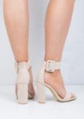 Buckle Chunky Heeled Platform Ankle Strap Sandals Beige