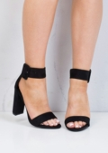 Buckle Chunky Heeled Platform Ankle Strap Sandals Black
