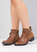 Buckle Faux Suede and Leather Chelsea Boots Tan