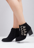 Buckle Western Block Heel Ankle Boot Black