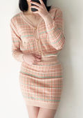 Knited Button Down Plaid Cardigan Top And Mini Skirt Co-Ord Set Orange