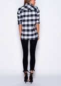 Button Front Brushed Check Shirt Black
