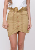 Button Front Paperbag Mini Skirt Beige