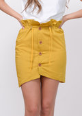 Button Front Paperbag Mini Skirt Yellow