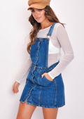 Button Through Denim Skirt Dungarees Blue