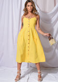 Front Button Through Strappy Midi Dress Yellow