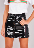 Button Through Vinyl Mini Skirt Black