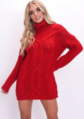 Cable Knit Roll Neck Jumper Dress Red