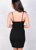Caged Mini Bodycon LBD Dress Black