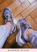 Multi Panel Chunky Trainers Grey